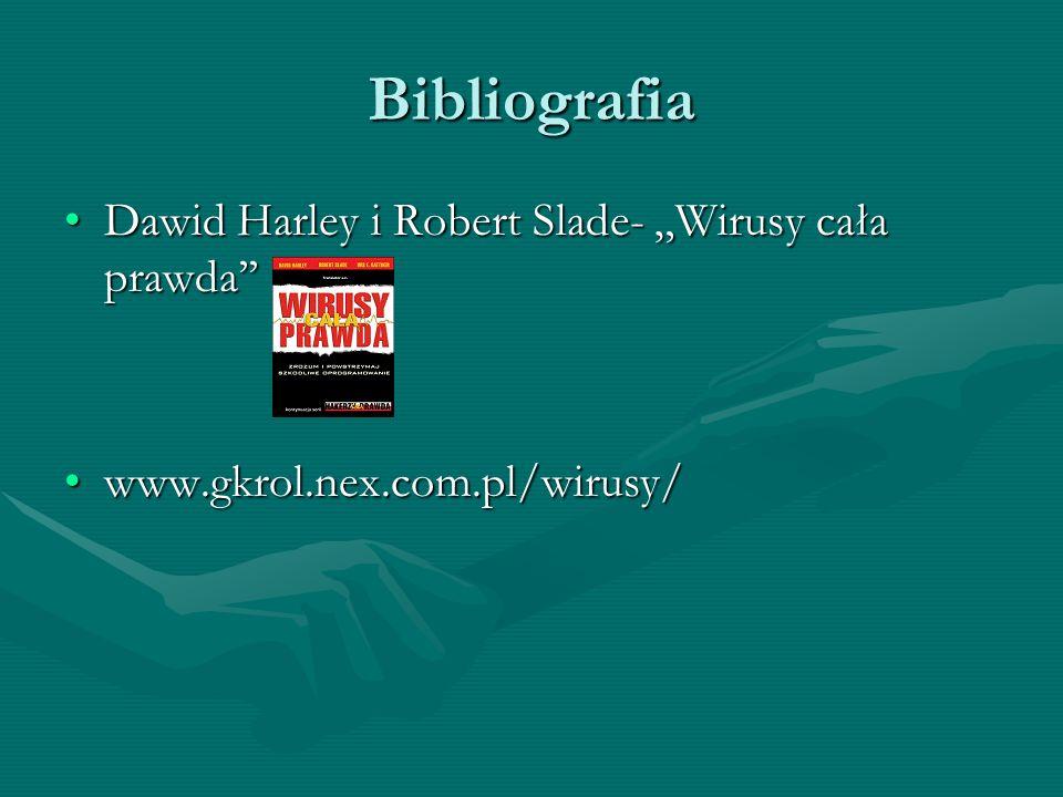 """Bibliografia Dawid Harley i Robert Slade- """"Wirusy cała prawda''"""