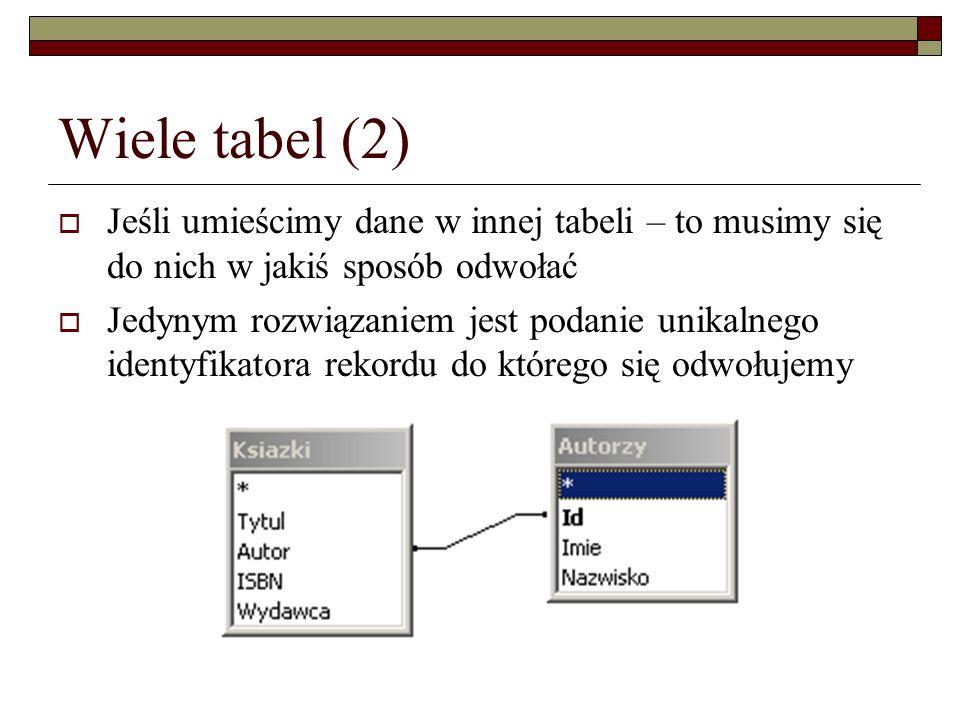 Wiele tabel (2) Jeśli umieścimy dane w innej tabeli – to musimy się do nich w jakiś sposób odwołać.