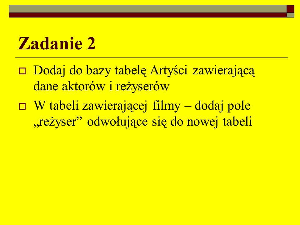 Zadanie 2 Dodaj do bazy tabelę Artyści zawierającą dane aktorów i reżyserów.
