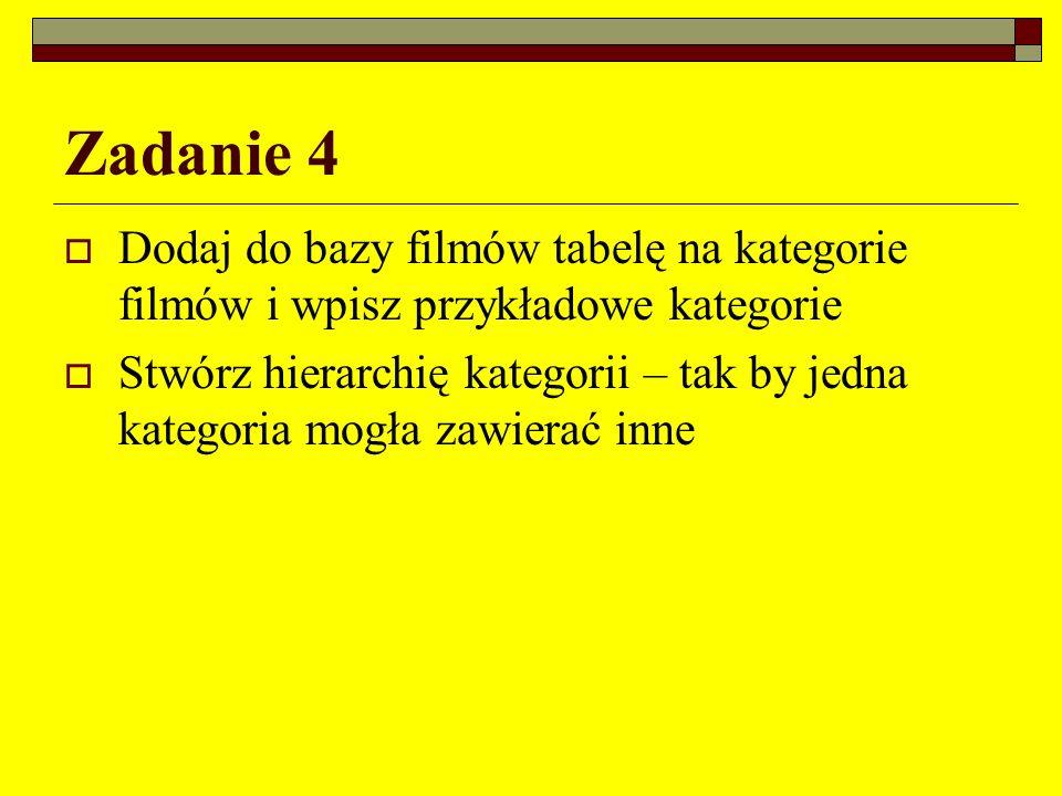 Zadanie 4 Dodaj do bazy filmów tabelę na kategorie filmów i wpisz przykładowe kategorie.