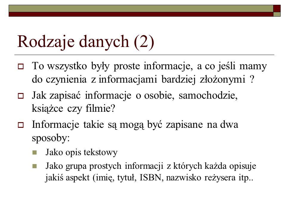 Rodzaje danych (2) To wszystko były proste informacje, a co jeśli mamy do czynienia z informacjami bardziej złożonymi