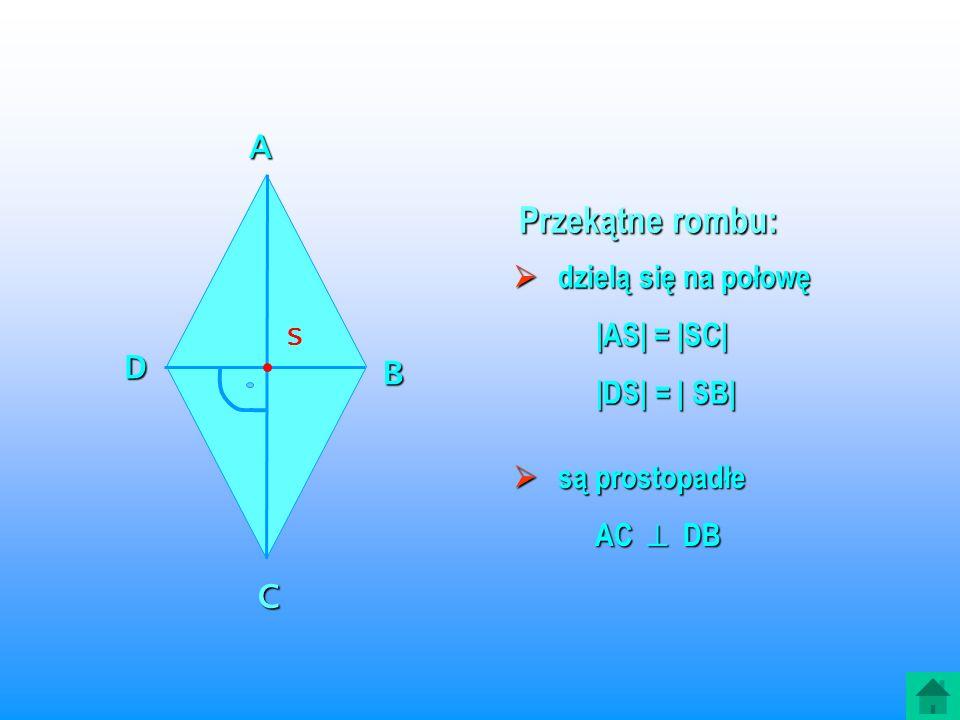 A Przekątne rombu: D B C dzielą się na połowę |AS| = |SC| |DS| = | SB|