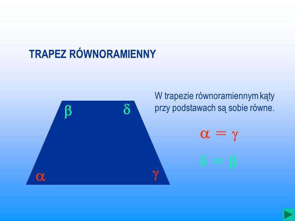 W trapezie równoramiennym kąty przy podstawach są sobie równe.