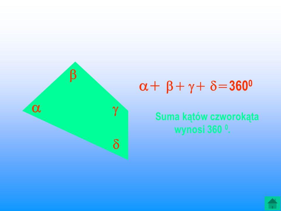 Suma kątów czworokąta wynosi 360 0.
