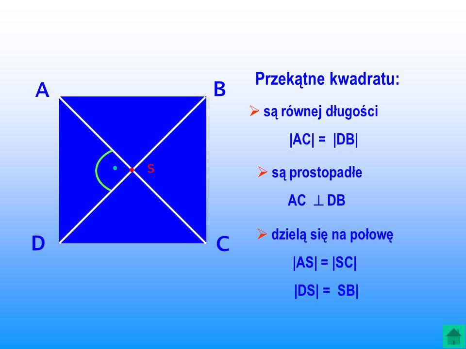 A B D C Przekątne kwadratu: są równej długości |AC| = |DB|