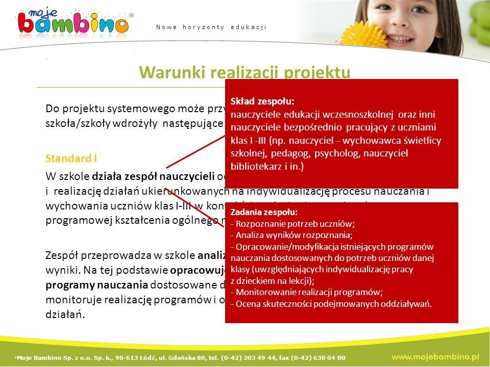 Warunki realizacji projektu