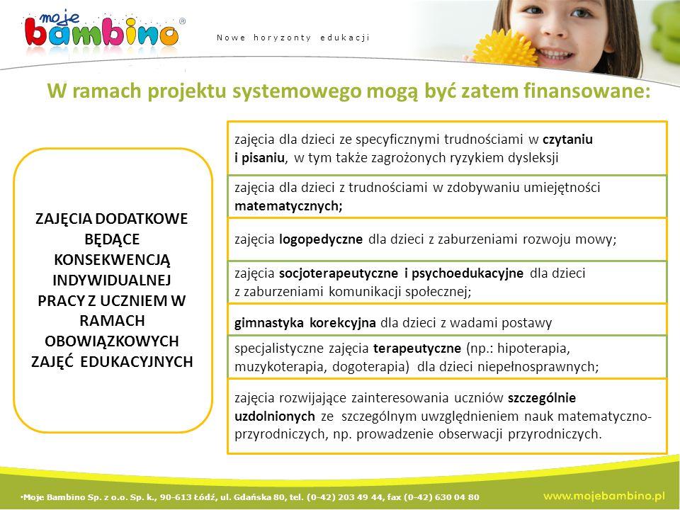 W ramach projektu systemowego mogą być zatem finansowane: