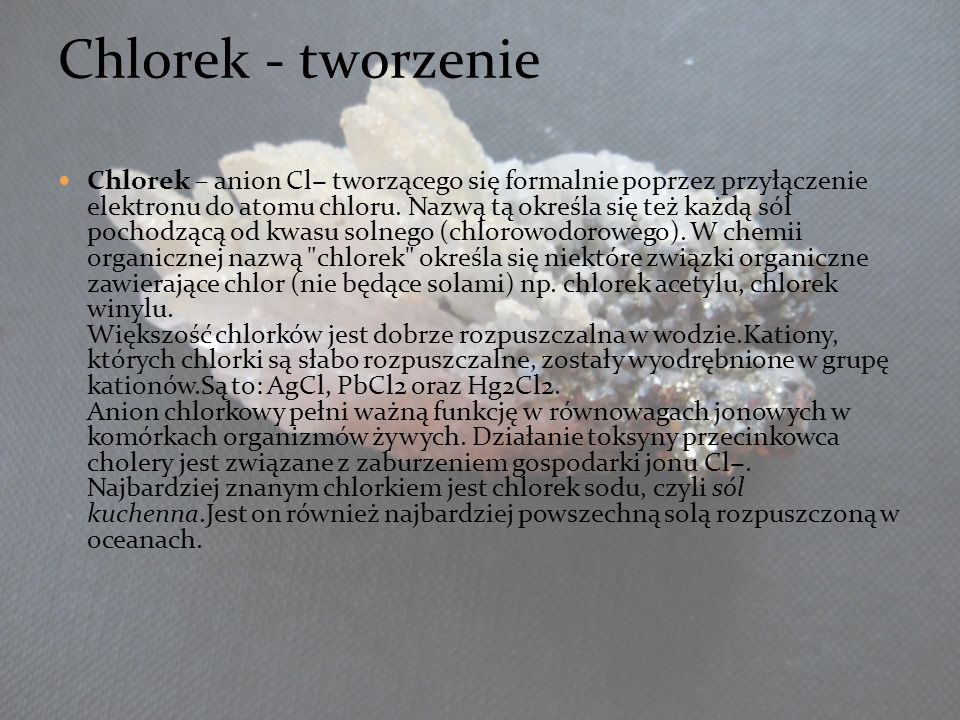 3535 Chlorek - tworzenie.
