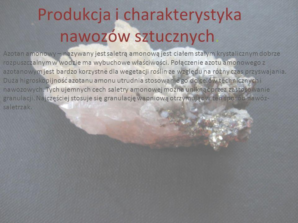 Produkcja i charakterystyka nawozów sztucznych.