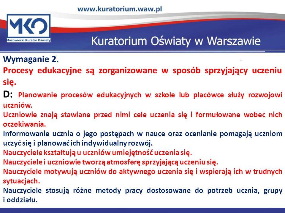 Wymaganie 2. Procesy edukacyjne są zorganizowane w sposób sprzyjający uczeniu się.