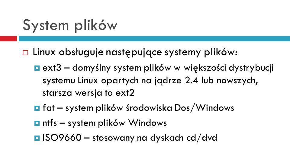 System plików Linux obsługuje następujące systemy plików: