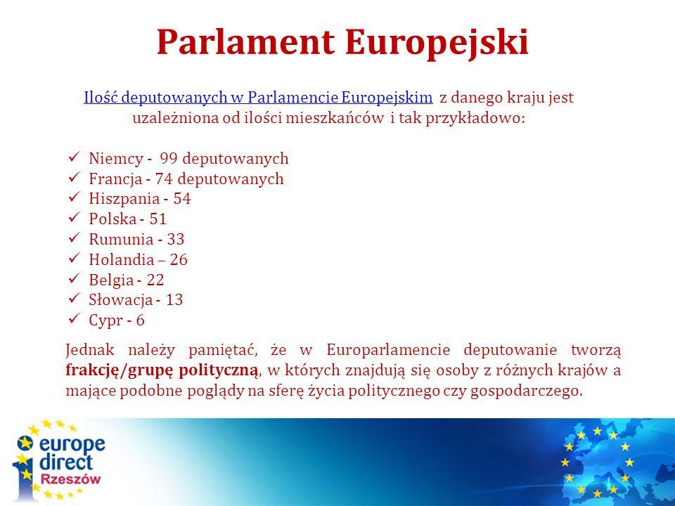 Parlament Europejski Ilość deputowanych w Parlamencie Europejskim z danego kraju jest uzależniona od ilości mieszkańców i tak przykładowo: