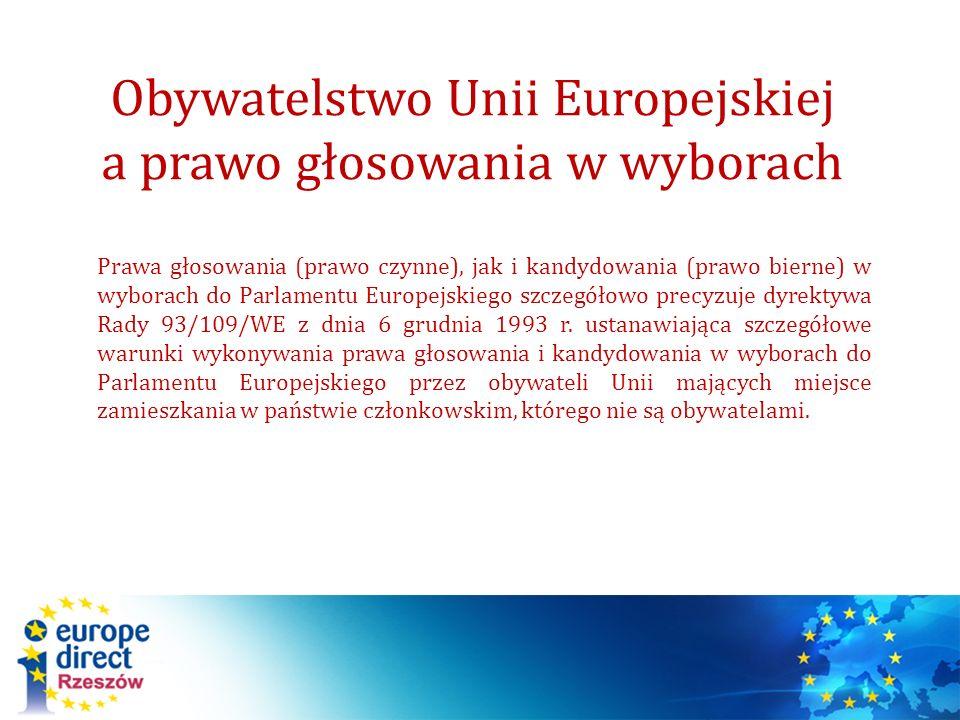 Obywatelstwo Unii Europejskiej a prawo głosowania w wyborach