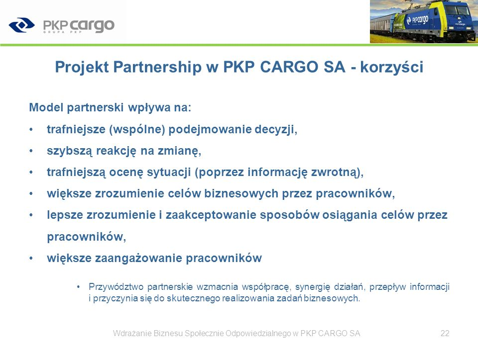 Projekt Partnership w PKP CARGO SA - korzyści