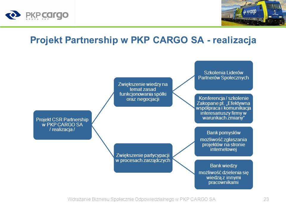 Projekt Partnership w PKP CARGO SA - realizacja