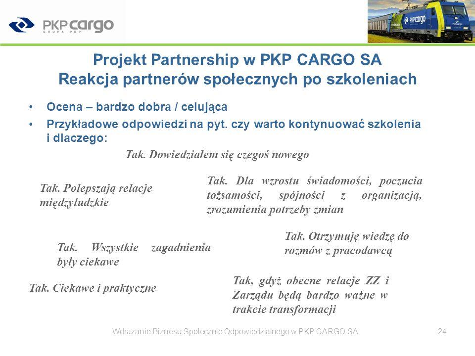 Projekt Partnership w PKP CARGO SA Reakcja partnerów społecznych po szkoleniach