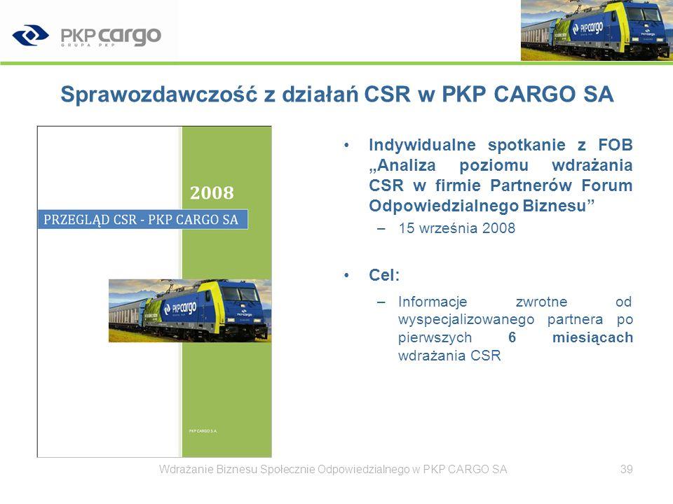Sprawozdawczość z działań CSR w PKP CARGO SA