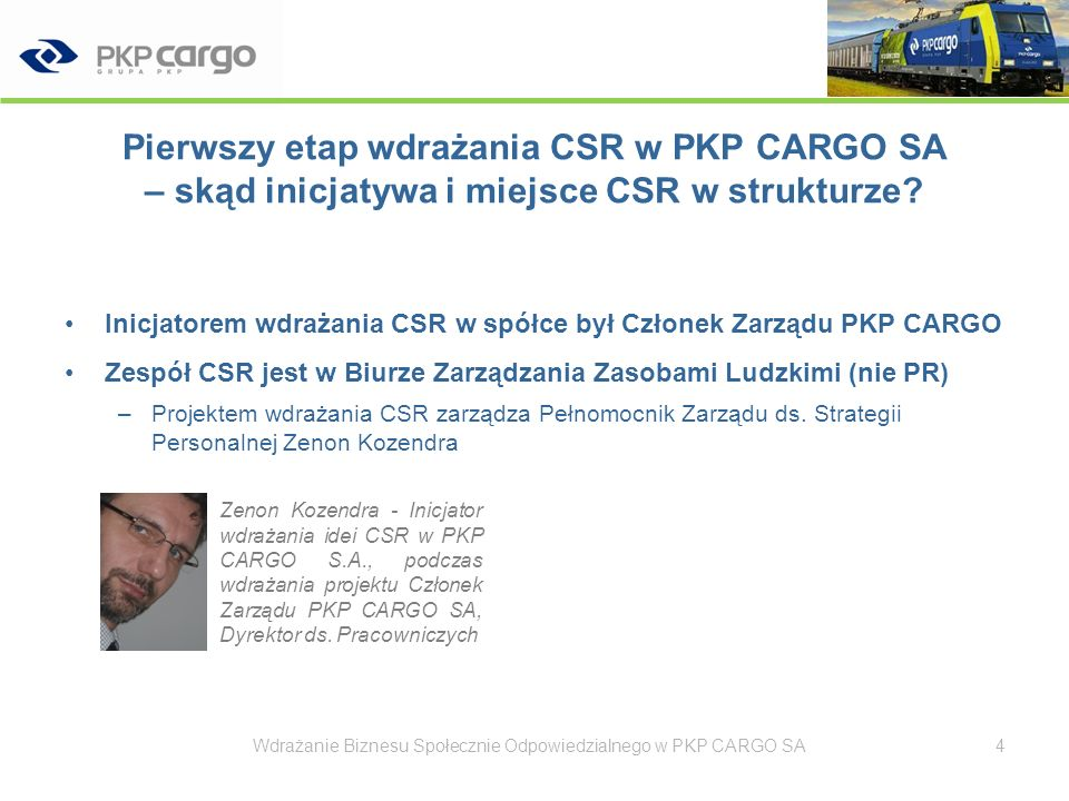 Pierwszy etap wdrażania CSR w PKP CARGO SA – skąd inicjatywa i miejsce CSR w strukturze