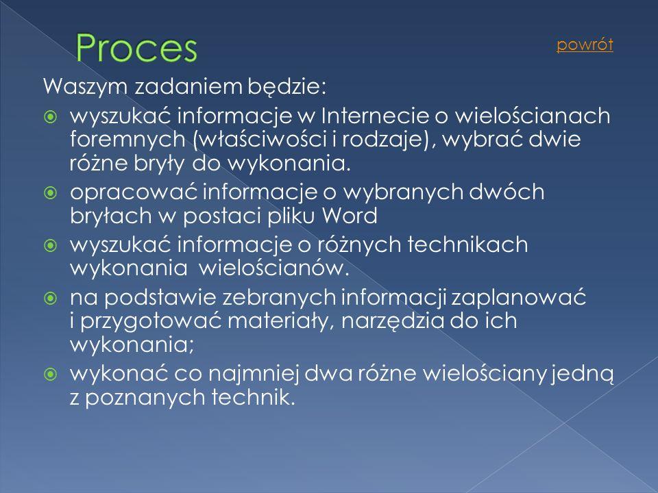 Proces Waszym zadaniem będzie: