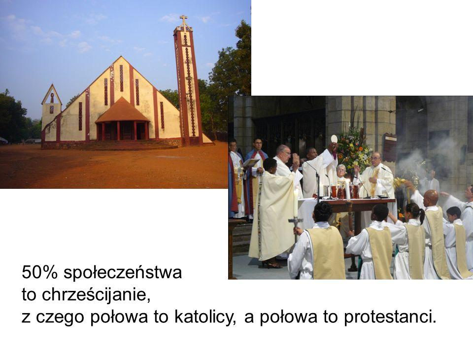 50% społeczeństwa to chrześcijanie, z czego połowa to katolicy, a połowa to protestanci.