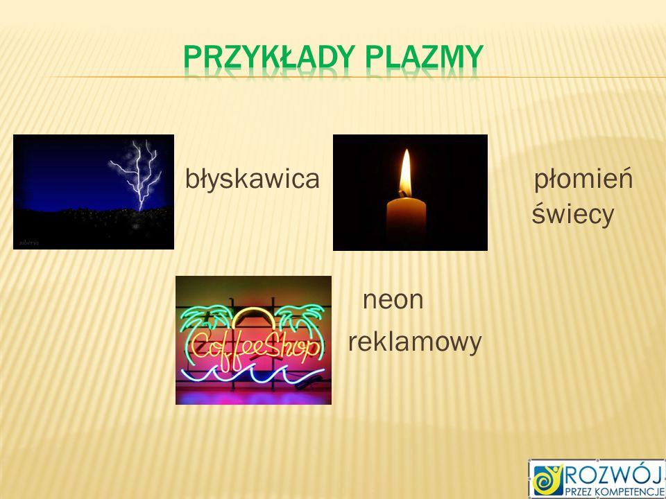 Przykłady plazmy błyskawica płomień płomień świecy neon reklamowy