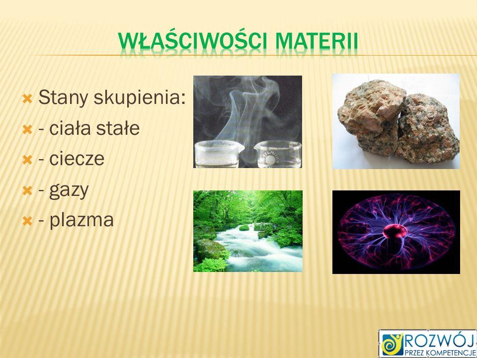 Właściwości materii Stany skupienia: - ciała stałe - ciecze - gazy