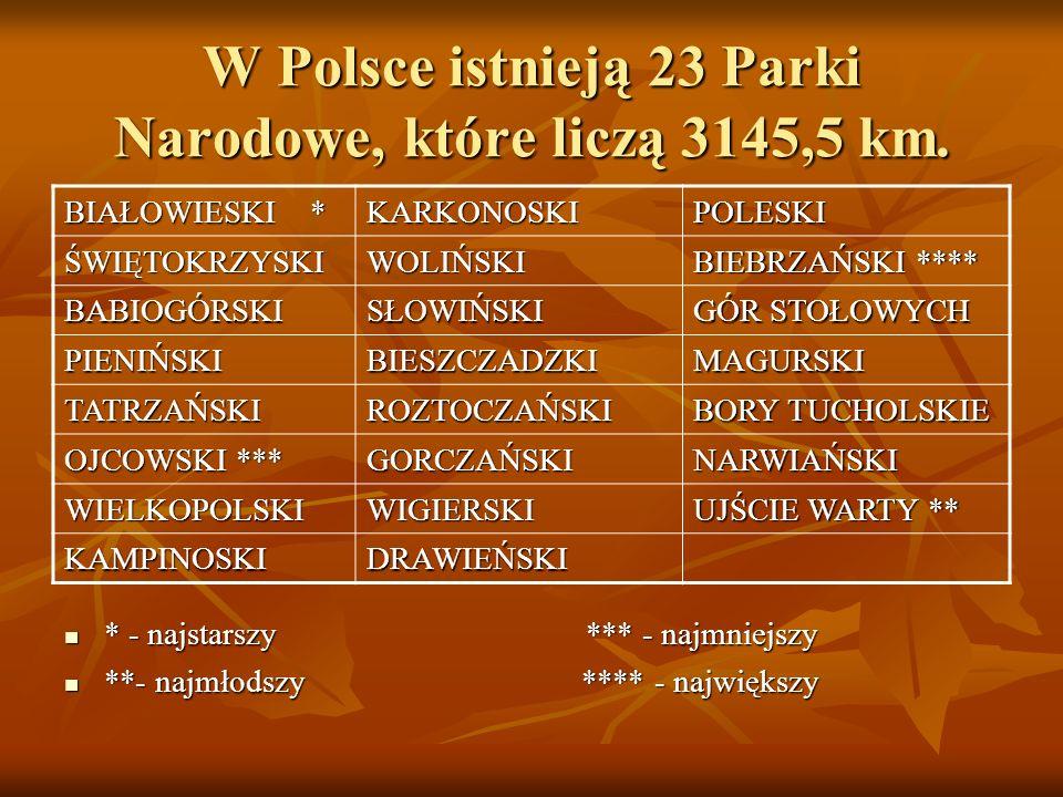 W Polsce istnieją 23 Parki Narodowe, które liczą 3145,5 km.
