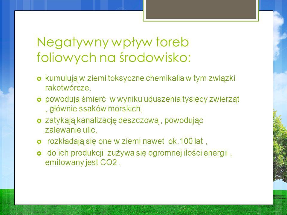 Negatywny wpływ toreb foliowych na środowisko: