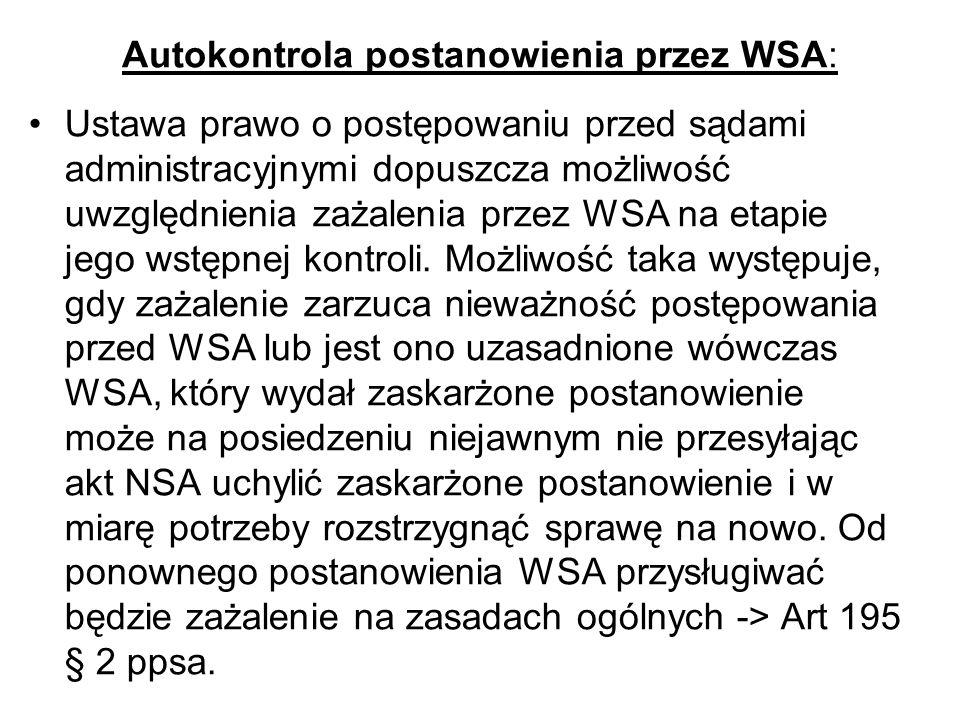 Autokontrola postanowienia przez WSA: