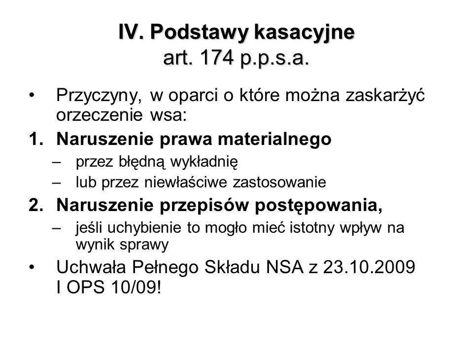 IV. Podstawy kasacyjne art. 174 p.p.s.a.
