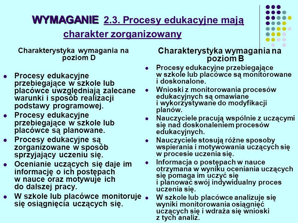 WYMAGANIE 2.3. Procesy edukacyjne mają charakter zorganizowany