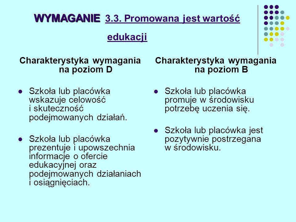 WYMAGANIE 3.3. Promowana jest wartość edukacji