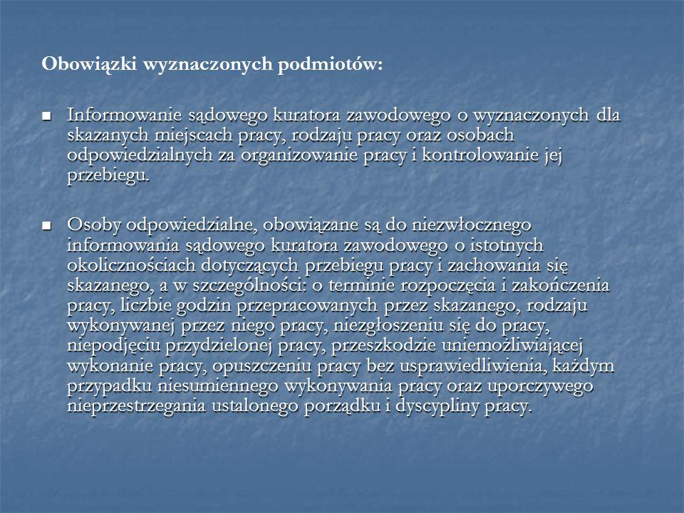 Obowiązki wyznaczonych podmiotów: