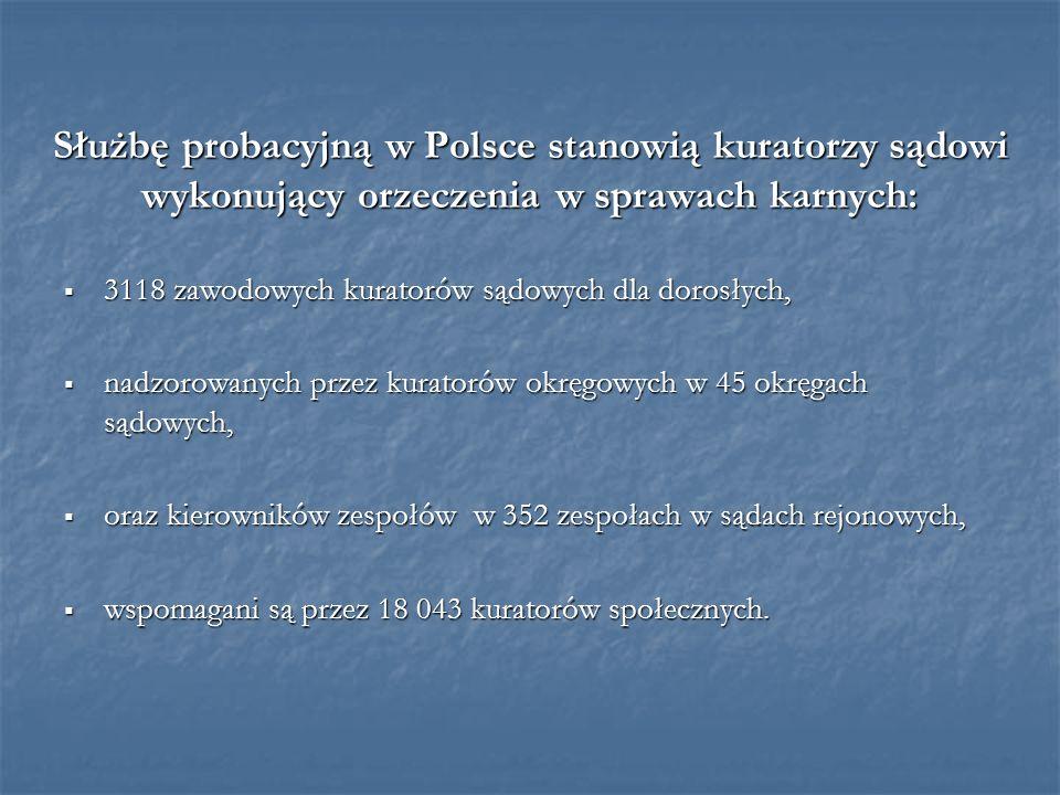 Służbę probacyjną w Polsce stanowią kuratorzy sądowi wykonujący orzeczenia w sprawach karnych: