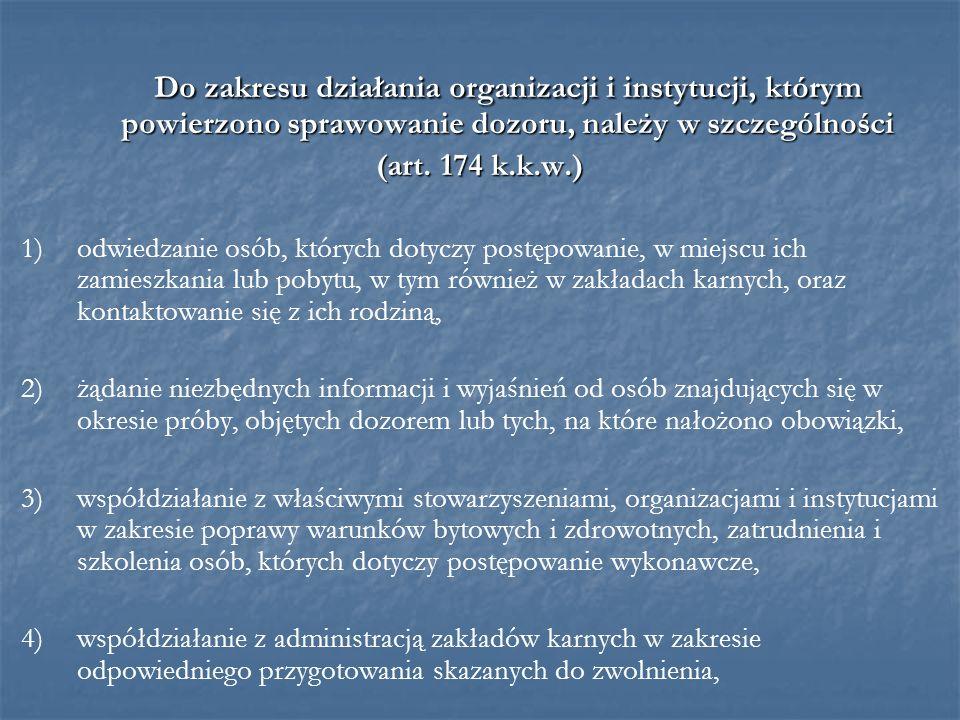 Do zakresu działania organizacji i instytucji, którym powierzono sprawowanie dozoru, należy w szczególności