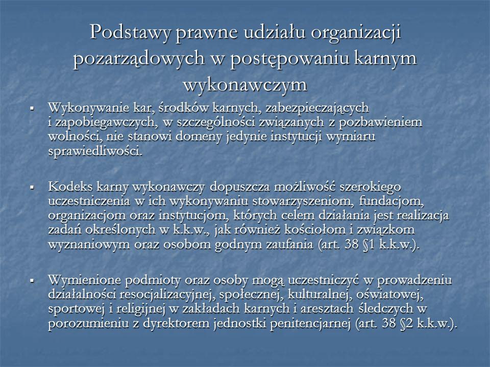 Podstawy prawne udziału organizacji pozarządowych w postępowaniu karnym wykonawczym