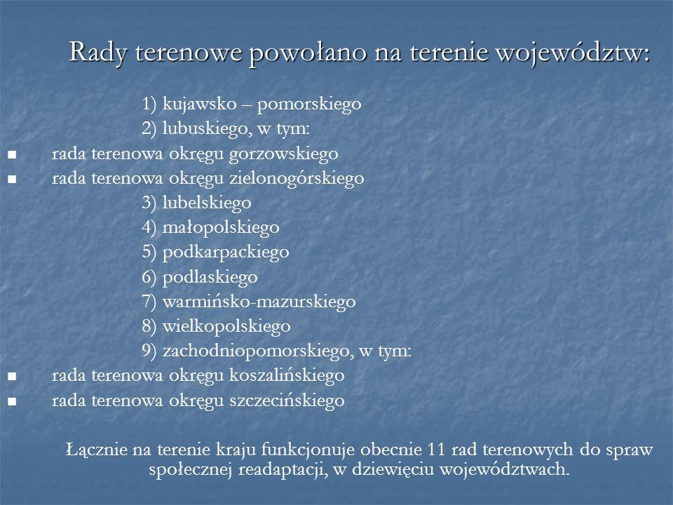 Rady terenowe powołano na terenie województw: