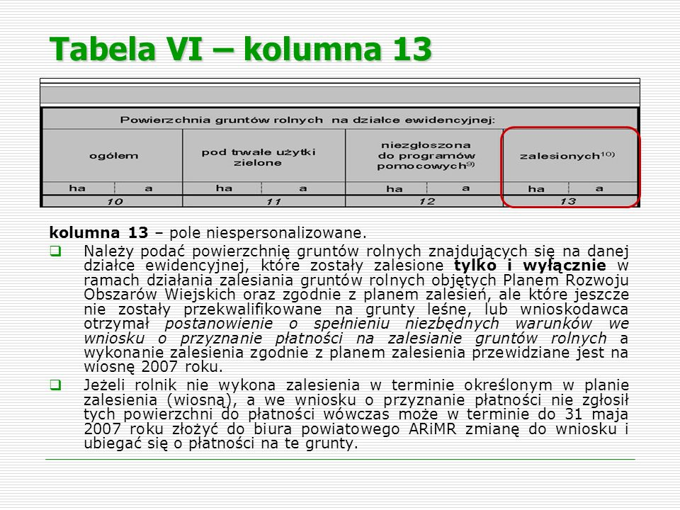 Tabela VI – kolumna 13 kolumna 13 – pole niespersonalizowane.