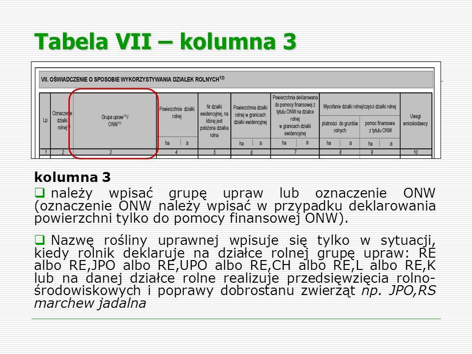 Tabela VII – kolumna 3 kolumna 3