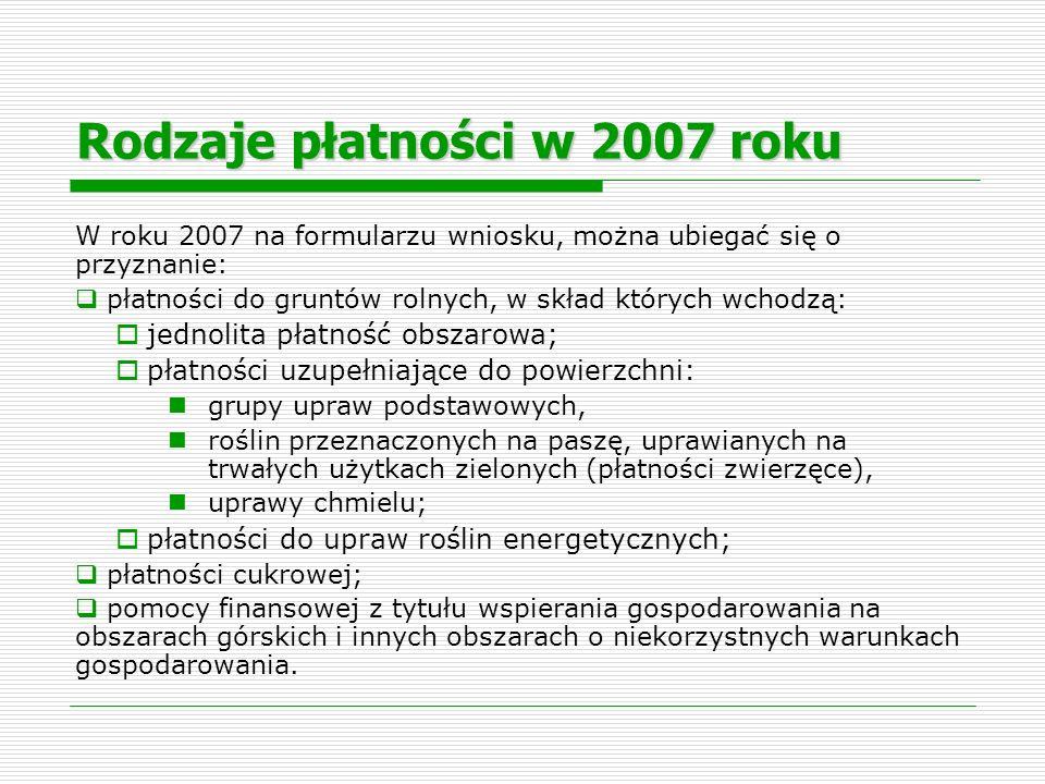 Rodzaje płatności w 2007 roku