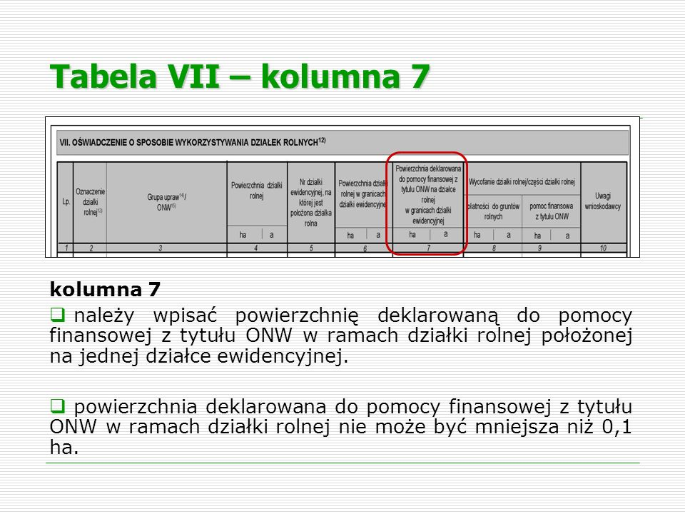 Tabela VII – kolumna 7 kolumna 7