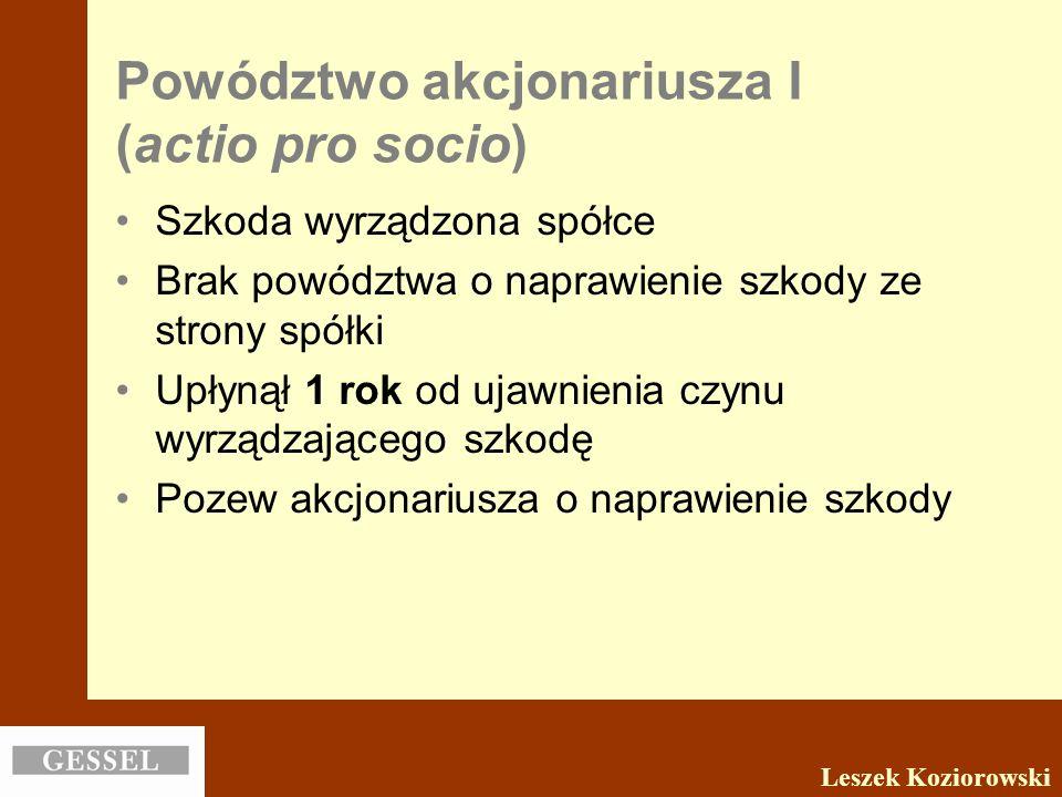 Powództwo akcjonariusza I (actio pro socio)
