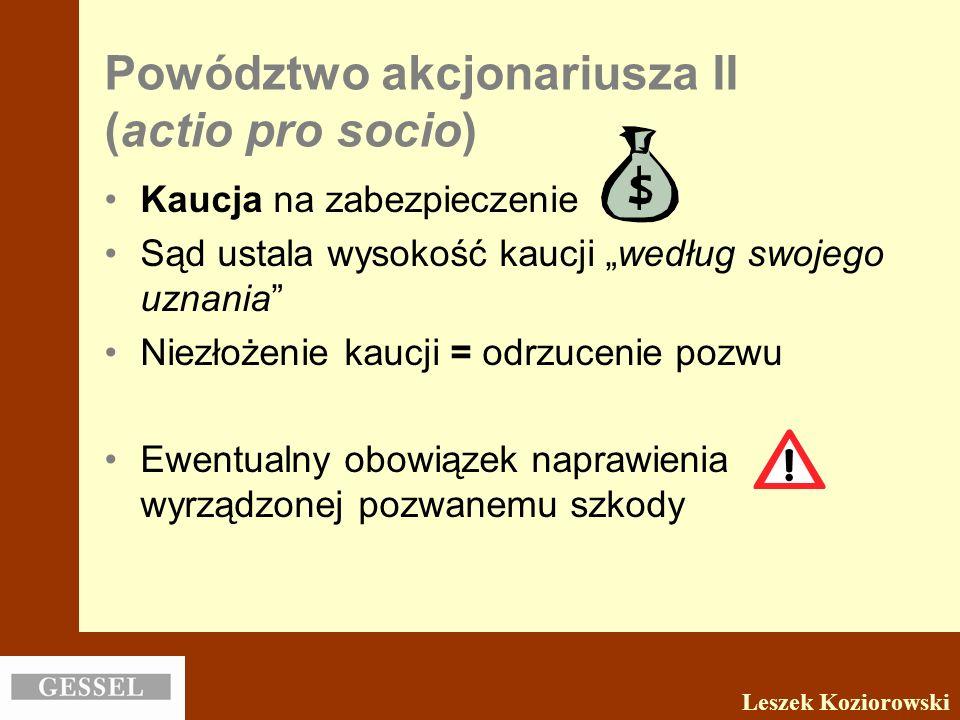 Powództwo akcjonariusza II (actio pro socio)
