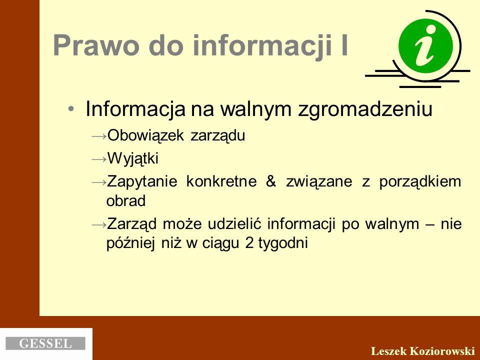 Prawo do informacji I Informacja na walnym zgromadzeniu