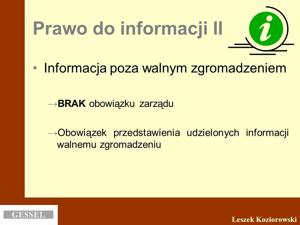 Prawo do informacji II Informacja poza walnym zgromadzeniem