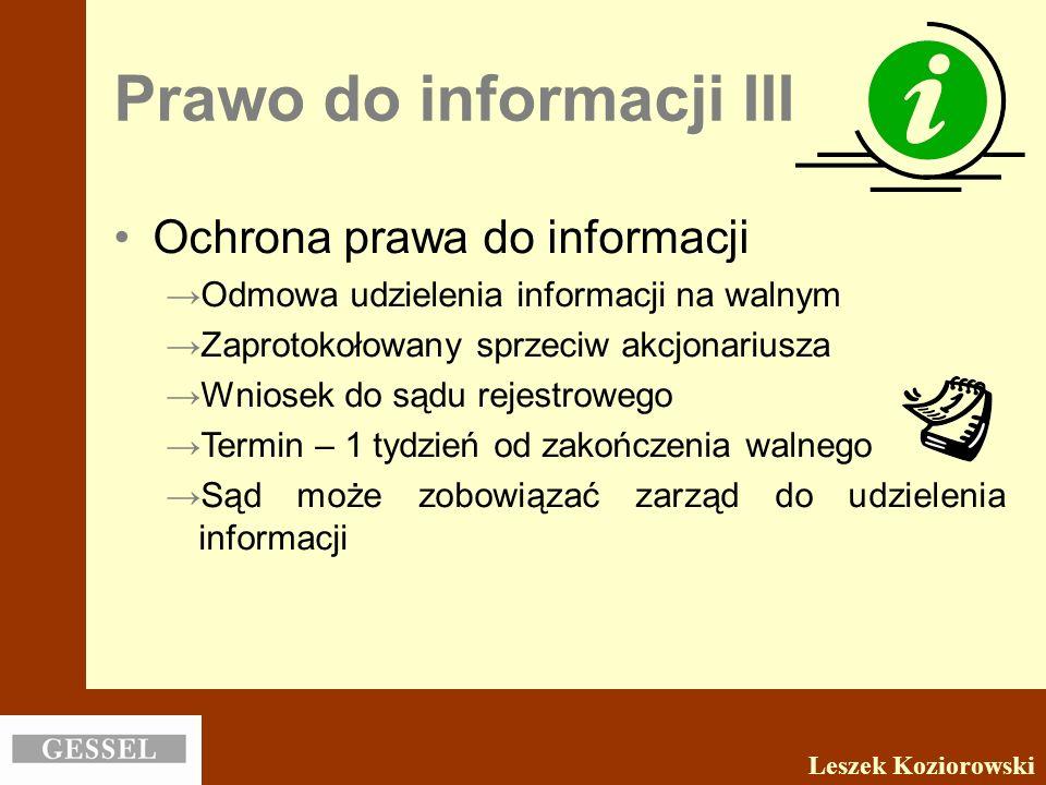 Prawo do informacji III
