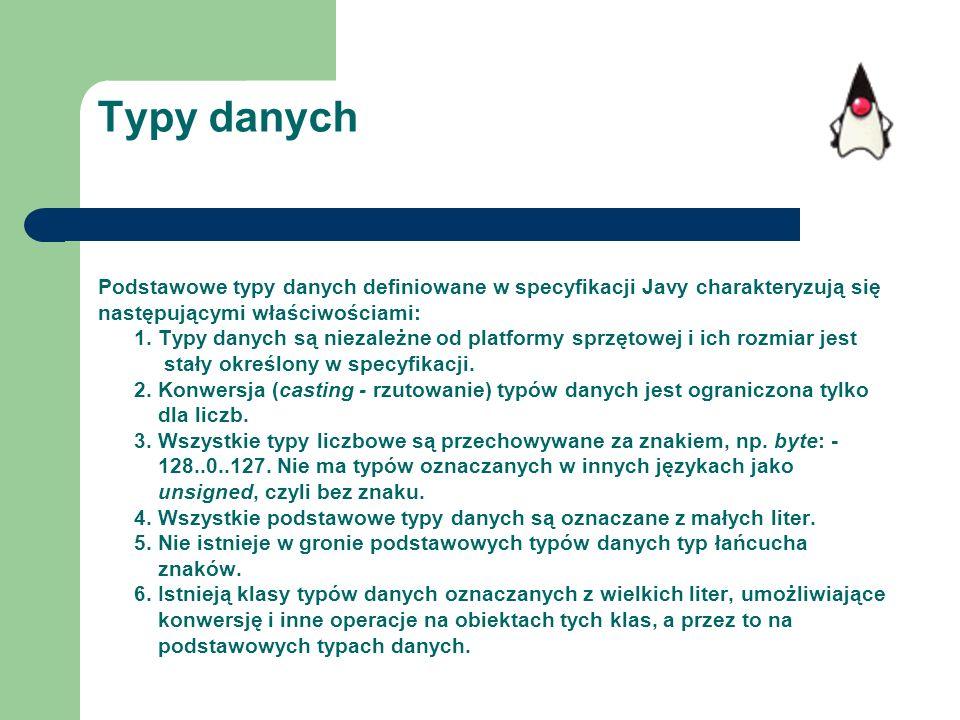 Typy danych Podstawowe typy danych definiowane w specyfikacji Javy charakteryzują się. następującymi właściwościami: