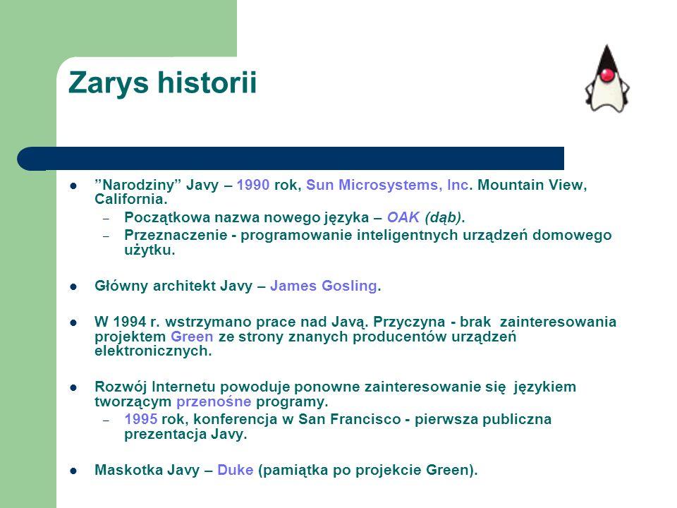 Zarys historii Narodziny Javy – 1990 rok, Sun Microsystems, Inc. Mountain View, California. Początkowa nazwa nowego języka – OAK (dąb).