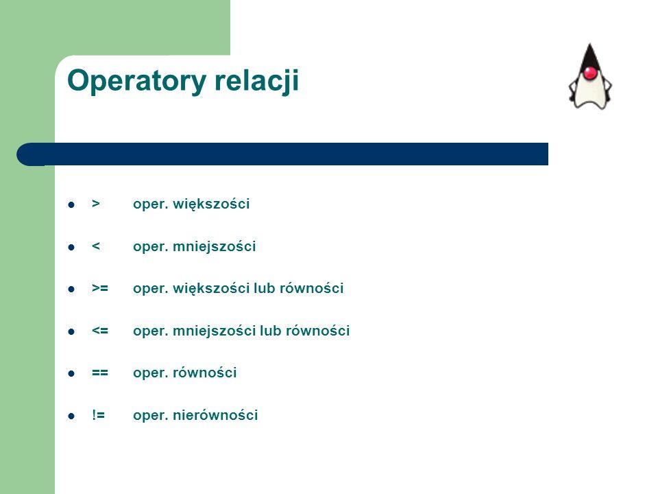 Operatory relacji > oper. większości < oper. mniejszości