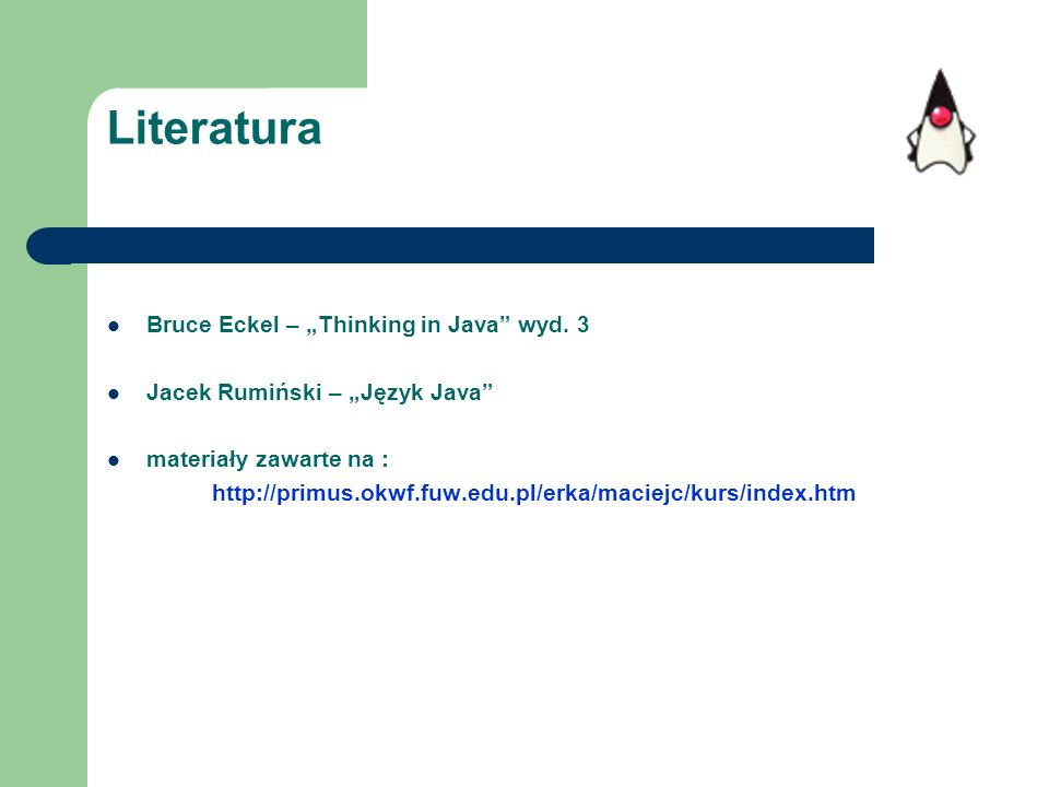 "Literatura Bruce Eckel – ""Thinking in Java wyd. 3"
